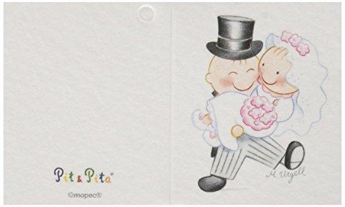 Mopec trouwkaart, pit&pita De bruid gaat in armen, 100 stuks, karton, meerkleurig, 0,02 x 6,5 x 4,00 cm