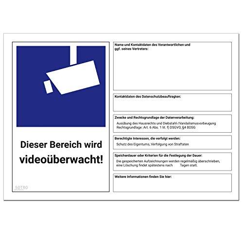 DSGVO Videoüberwachung Schild/Aufkleber, BDSG - Video Symbol nach EU Datenschutz Grundverordnung 2018 und Datenschutzgesetz, Video Symbol nach DIN 33450 Hinweis Datenschutzbeauftragter, Größe A4