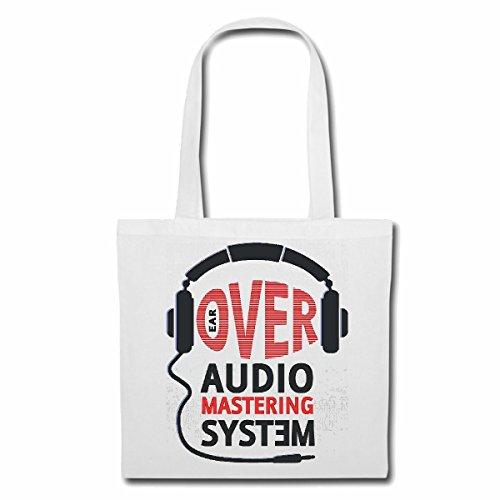 Tasche Umhängetasche Over Audio System KOPFHÖRER Techno Jazz Funky Soul Trance Festival House Hiphop HIP HOP DJ Einkaufstasche Schulbeutel Turnbeutel in Weiß