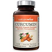 NatureWise Organic Curcumin Turmeric with 95% Curcuminoids, 1500mg Max Serving Per Day from Two 750mg Capsules, High Absorption Black Pepper for Inflammation & Joint Support, 60 Caps