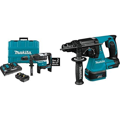 Makita XRH07PTUN 18-Volt X2 LXT Lithium-Ion (36V) Brushless Cordless 1-9/16 inch AVT Rotary Hammer Kit, AFT, AWS (5.0Ah) with XRH01Z Cordless 1 inch Rotary Hammer, accepts SDS-PLUS bits