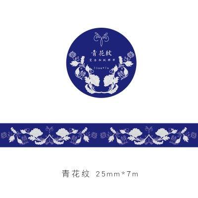 MAOYYM Washi Scrapbooking Tape Arts Ambachten (3 Rolls) (25Mm*7M) Hot Stamping Heet Zilver Tweekleurige Cloud Kraan Patroon en Papier Tape Parfum Lipstick Dagboek Album DIY Decoratieve Stickers Decor