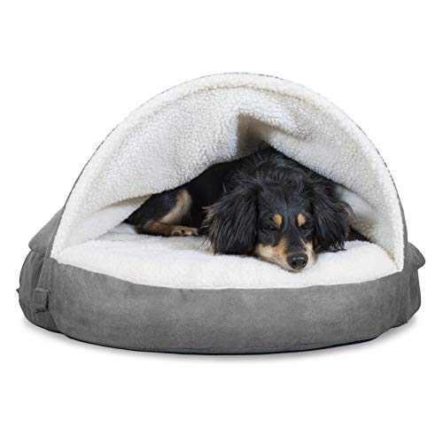 Furhaven Pet Dog Bed - Cooling Gel Memory Foam Orthopedic Round Cuddle Nest Faux Sheepskin Snuggery Blanket Pet Bed with Removable Cover for Dogs and Cats, Gray, 26-Inch