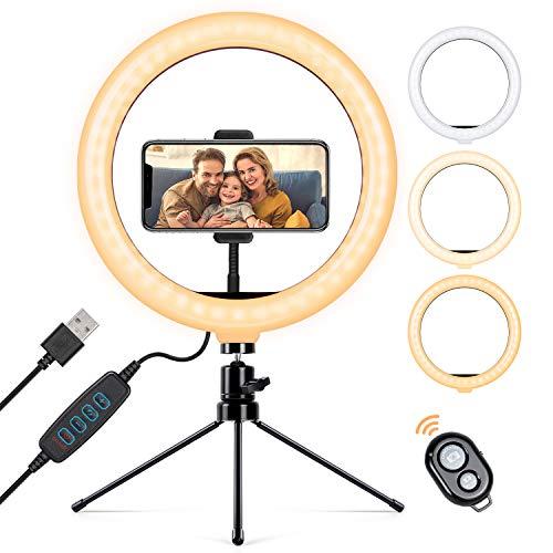 TAOCOCO Anillo de luz LED para Selfie de 10.2 Pulgadas, con Trípode, Soporte para Teléfono Móvil y Control Remoto, Anillo de luz Ajustable de Maquillaje, Tiktok, Video de fotografía de Youtube