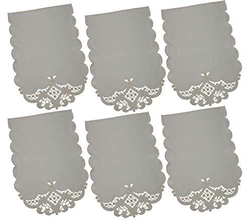 GiftsScotland.com - Copri poggiatesta per divano antimacassar, 6 pezzi, tinta unita, color panna, ricamato, motivo floreale con bordi smerlati