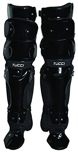 Tucci Catcher's S3.3 Leg Guards for Baseball and Softball, Black, 16'