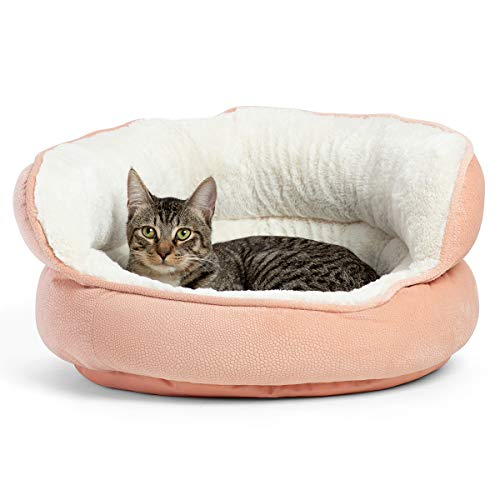 Best Friends by Sheri Pet Throne Round Orthopedic Cat and Dog Bed, High Walls for Security & Comfort, Machine Washable, for Pets up to 25 pounds - Standard, Rose