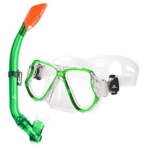 SKL Taucherbrille mit Schnorchel Schnorchelset Kinder Tauchset aus Gehärtetem Glas Anti-Leck Anti-Fog, ideal für Tauchen, Schnorcheln und Schwimmen, Kinder Tauchset Grün