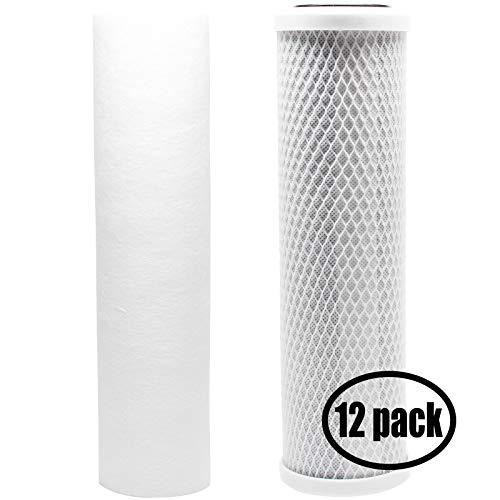 12 Kit de filtre de rechange pour PETS-N-US Seachem Pinnacle + Ro/DI Ro Système – Inclut Filtre Bloc de carbone et filtre sédiments PP – Denali Pure marque