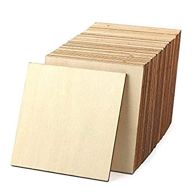 Unfinished Wood Pieces 50 Pcs 4 Inch Square Blank Wooden,Squares Cutout Tiles Unfinished Wood Cup Coasters Natural Slices Wooden Square Cutouts for Christmas Ornaments HomeDecoration Painting Staining
