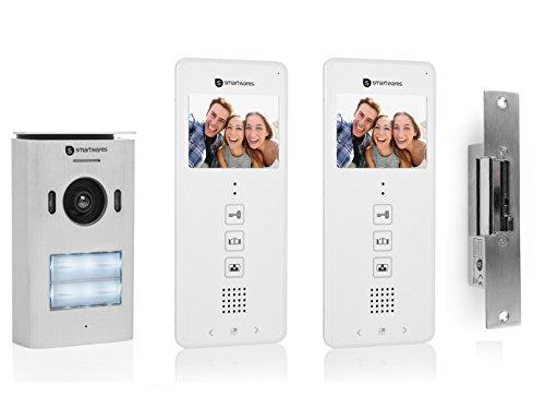 Smartwares Set: 2 Familienhaus Türsprechanlage mit Kamera + Türöffner, Video Gegensprechanlage