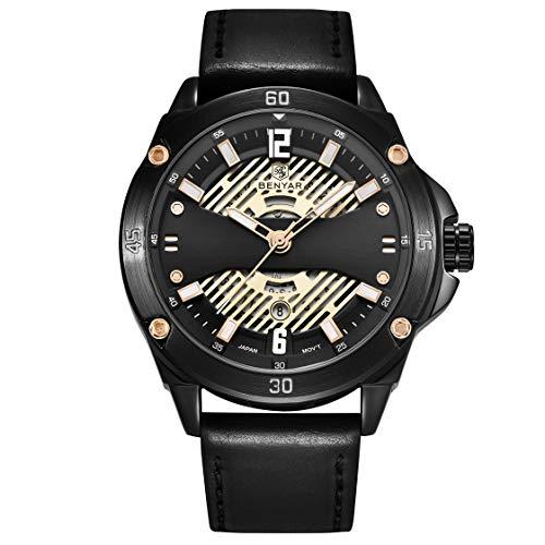 SFOXL Herren Kalender Quarz Uhr mit Wasserdicht Edelstahl Armband Analog Lässige Sport Chronograph Schwarz 5149,Black2