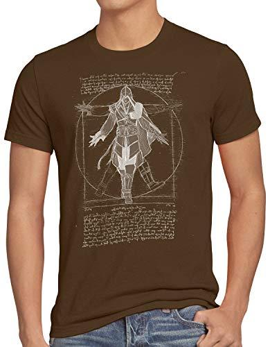 A.N.T. Nizarí de Vitruvio Camiseta para Hombre T-Shirt Desmond Miles, Talla:3XL, Color:Marrón