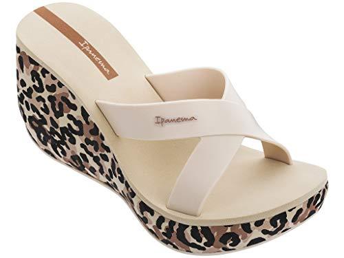 Ipanema Lipstick Straps V Sandalias de mujer Slider Plateau Sandalias de plástico sandalias abiertas dedos alto cuña sandalias sin cierre 82856, color Beige, talla 35.5 EU