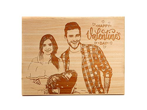 """Carving India Personalised Wooden Photo Frame - Engraved Customised Photo Plaque Gift for Loved One Valentine (Size - 4"""" x 5"""")"""