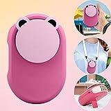Orapink Mini ventilador de cuello portátil portátil USB 1500 mAh recargable con luz LDE Pequeños ventiladores de escritorio para viajes, hogar, oficina, al aire libre (rosa)
