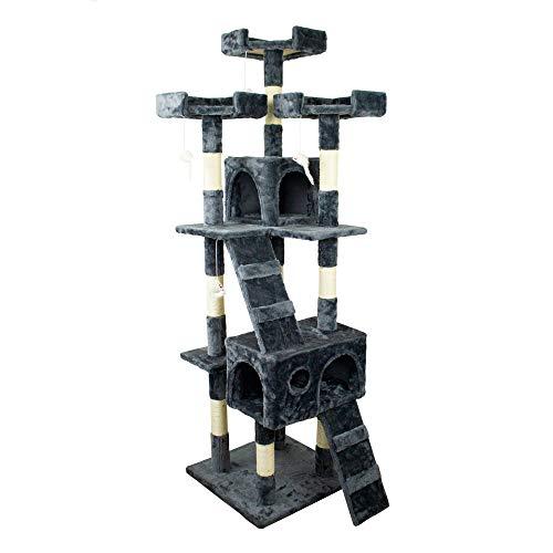 Mobiclinic, Rascador árbol para Gato, Modelo Tom, Grande, para Escalar, 3 Alturas, con Plataformas y Refugios, Juguete Desestresante, Cuerda de sisal, Gris