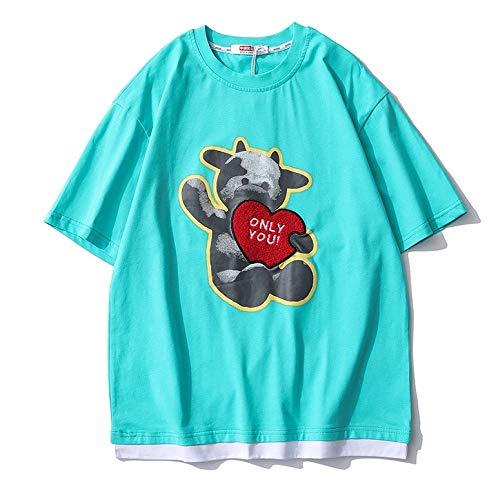Año de la Buey Camisetas,Weiii Casual Suelto Camisetas para Hombres Y Mujeres,Camisetas con Zodíaco Signos,Verano Dibujos Animados Impreso Manga Corta Camisetas,Pareja Camisetas Suelto Y Cómodo