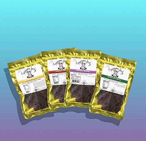 Supreme Beef Jerky - Halal Beef Jerky 4 Pack (Western Teriyaki, Jalapeno Garlic, Scorpion Pepper, Sweet & Spicy)