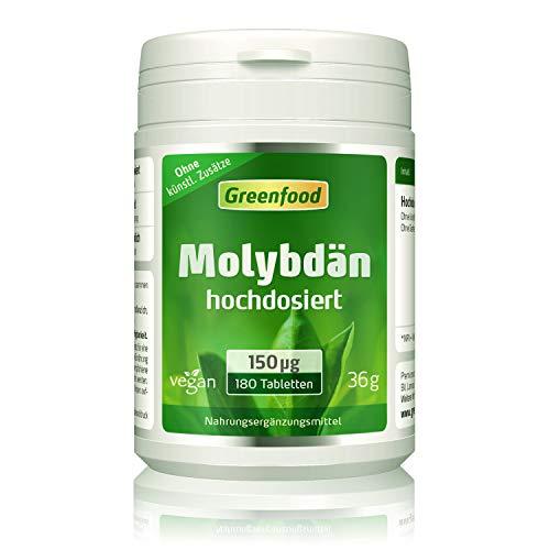 Greenfood Molybdän, 150 µg, hochdosiert, 180 Tabletten – wichtig für eine aktiven, gesunden Stoffwechsel. OHNE künstliche Zusätze. Vegan.