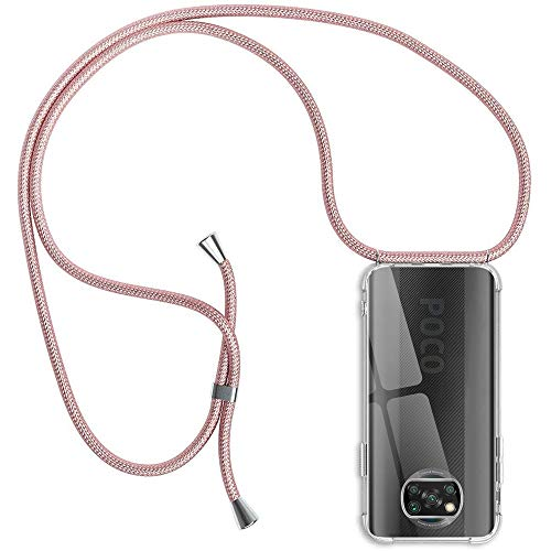 Funda con Cuerda Compatible con Xiaomi Poco X3 Pro/Poco X3 NFC, Transparente Silicona Carcasa con Colgante, Rosyheart Suave TPU Gel Slim Case con Ajustable Correa Collar Protector Case-Oro Rosa