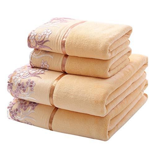 WHZG Juego de Toallas Toallas de Toalla Toallas de baño Extra Grande Borde de Encaje - (Paquete de 2) Cuidado fácil, Uso Multiusos para baño, Mano, Cara, Gimnasio y SPA (Towelx1, Baño