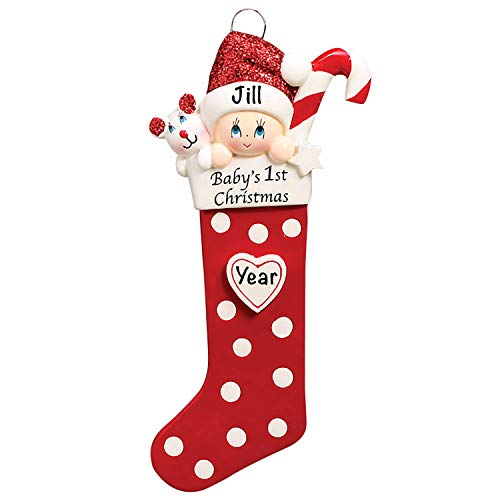 Baby's First Christmas Baby Keepsake Baby 2020 Ornament – Baby's First Christmas Ornament – Red Baby 1st Christmas Stocking Ornaments for Baby Christmas – My First Christmas Baby Ornament