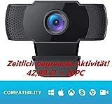 COOAU 1080P Webcam with Microphone PC Laptop Desktop USB 2.0 Full HD Webcam for Video Calls Student...