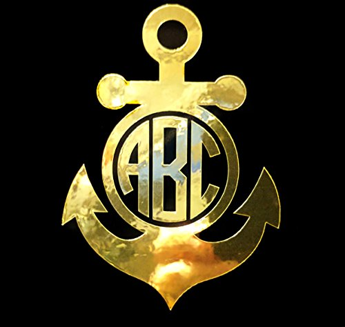 Eggleston Design Co Custom Metallic Circle Anchor Monogram Letter Initial Sticker Decal for Tumbler Cups, Laptops, Car Windows (fits Yeti and RTIC Cups) (3', Gold Chrome)