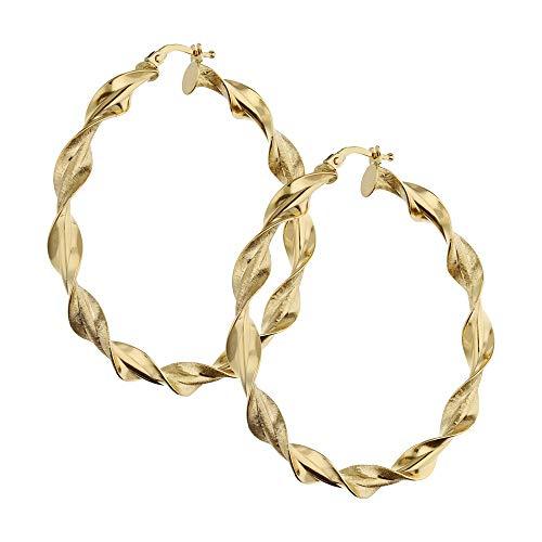 Pendientes de aro de oro amarillo de 18 quilates modelo Torchon