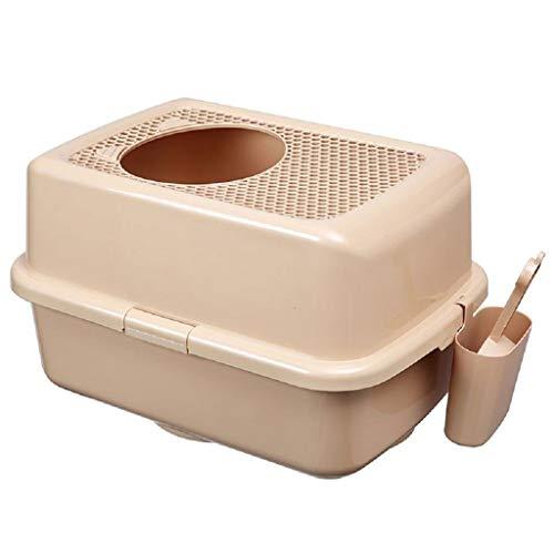 jinrun Sanitario Gatos Tipo de Entrada Superior Olla for Arena for Gatos Caja de Arena for Inodoro for Gatos Totalmente antia Salpicaduras Completamente Cerrada Cat Litter Box (Color : Coffee Ash)