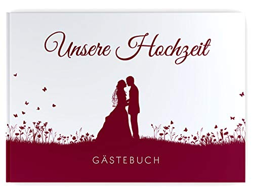 DeinWeddingshop Gästebuch Hochzeit Brautpaar, ohne Fragen blanko Hardcover hochwertig, Hochzeitsgästebuch Hochzeitsbuch Fotobuch, Leaf Couple (weinrot)