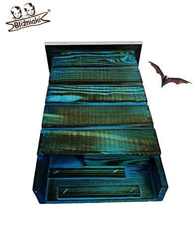 BLIZNIAKI FledermausKasten 9x27x42cm Fledermaushaus aus Holz Nistkaste Fledermauskasten zum Aufhängen Unterschlupf für Fledermäuse Schläger Geeignet für Fledermäus BAT Box BDN1 Opal NB