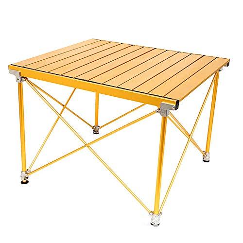 LJT opklapbare tafel voor buiten, eenvoudig op te klappen zijtafel, draagbare picknicktafel voor de tafelfamilie goud