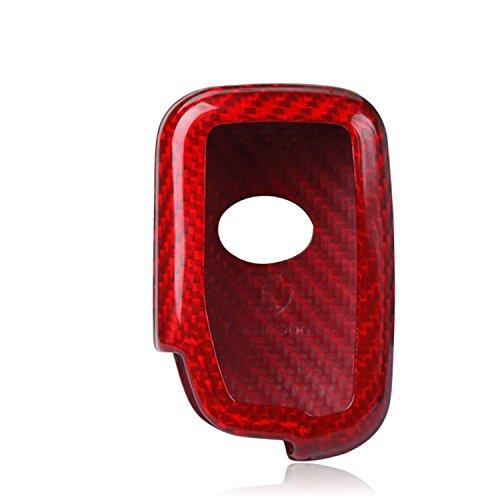 Genuine Carbon Fiber Key Fob Cover For Lexus ES350 GS300 GS350 GS430 GS450h GS460 HS250h IS250 IS350 IS-C IS-F LS460 LS600h LX570 RX350 RX450h Base Smart Car Remote Key Case for Men Women - Red