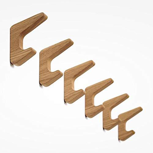 Matty-LZ - 6 ganchos de madera vintage, capacidad de carga de 5 kg, ganchos de pared, albornoces, sombreros y ropa, ganchos multiusos (color madera)