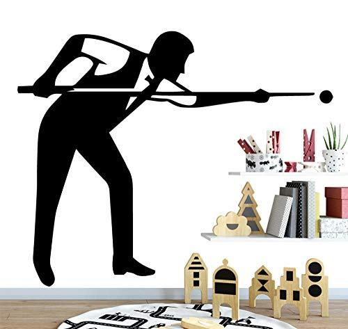 Wandtattoo Wandaufkleber Sport Billard Tisch Mann Spielt Ball Vinyl Design Home Dekoration Zubehör 43X49 cm