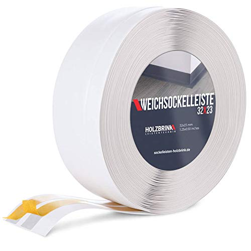 HOLZBRINK Weichsockelleiste selbstklebend WEISS Knickleiste, 32x23mm, 15 Meter