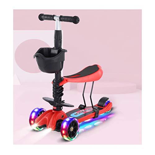 Scooters para Niños Wheeling Wheel Scooters Light Wheels Freno de la Rueda Trasera Durante 2-12 años - Scooter Plegable con Asiento extraíble Antideslizante Scooter Patinete Niño (Color : B)