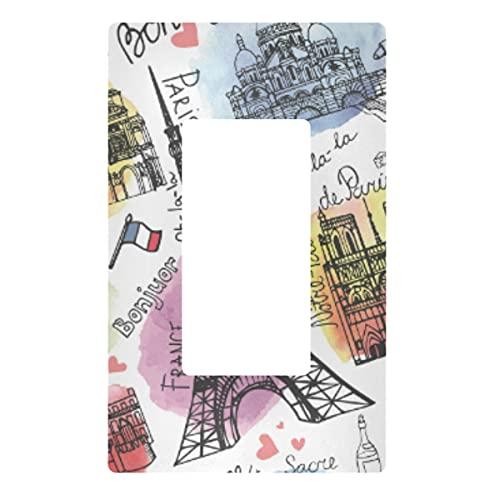 Placa decorativa de pared con interruptor de luz – Vintage Paris Word Outlets interruptor de la placa cubierta de 3 bandas de enchufes eléctricos para dormitorio, cocina, decoración del hogar