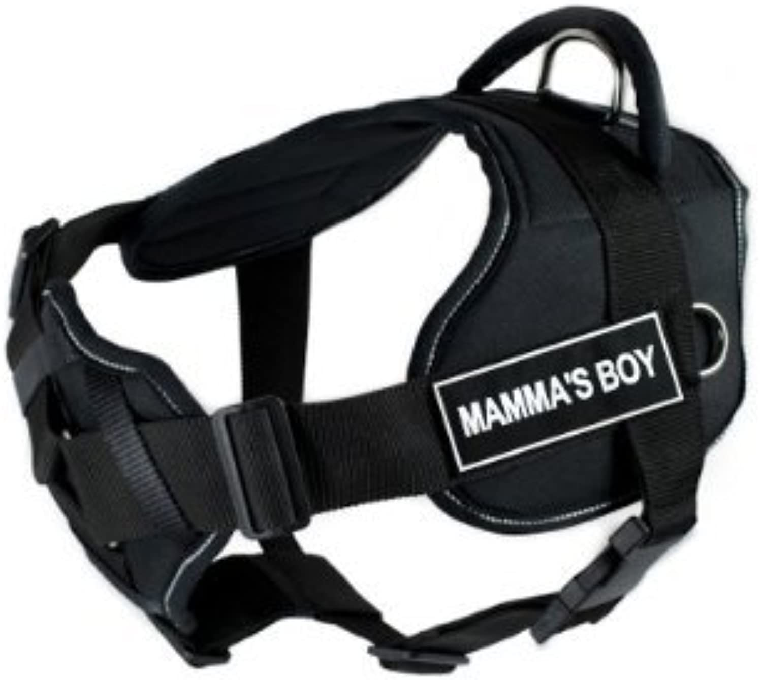 Dean & Tyler New DT FUN Dog Harness With Padded Chest Piece With 3 Straps, Reflective Trim  Size  Medium (Will Fit  71cm  86cm) with  MAMMA'S BOY  Velcro Patches, Black White