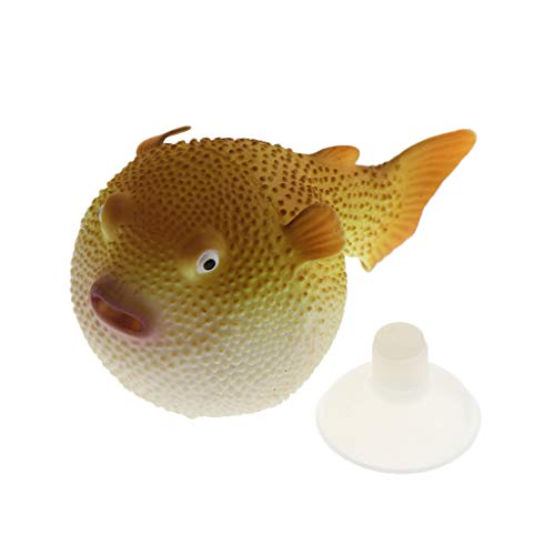 non-brand Silikon Kugelfisch Aquarium Dekoration Aqua Ornaments - Gelb