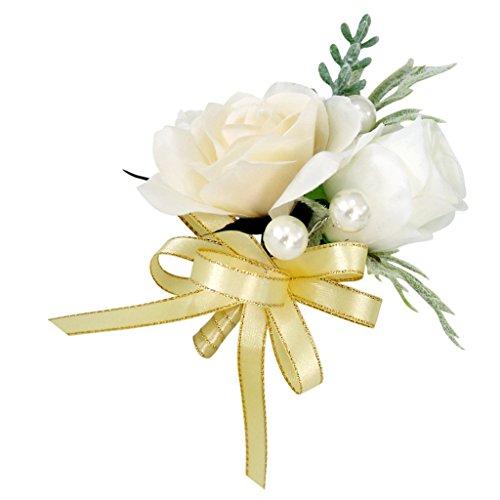 MagiDeal Hochzeit Seide Blumen Boutonniere Braut Corsage Ansteckblume Bräutigam Boutonniere Brosche Pin - Champagner, 14 x 10 x 6 cm