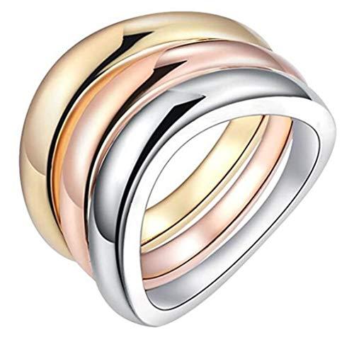 PAURO Cobre Tricolor Conjunto Anillo Apilable para Mujer de Oro, Oro Rosa Y Oro Blanco Plateado Tamaño 17