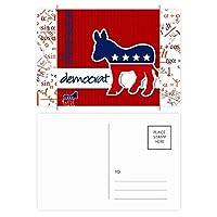 アメリカ アメリカ合衆国民主党ロバのエンブレム 公式ポストカードセットサンクスカード郵送側20個