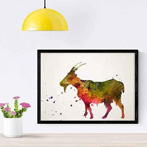 Nacnic Poster de Cabra Estilo Acuarela. Láminas de Animales con Estilo Acuarela para decoración de Interiores. Tamaño A4
