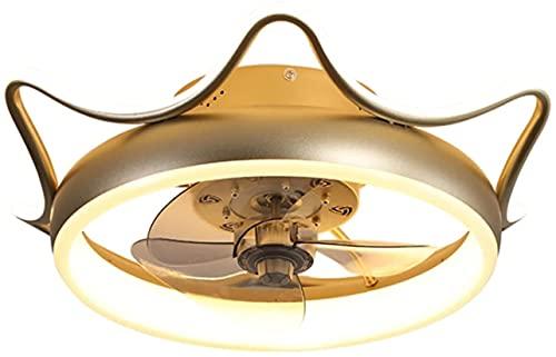 WEM Luces de ventilador de techo, luces LED de conversión de frecuencia, control remoto inteligente, luces de ventilador de techo silenciosas, estudio de la habitación de los niños en casa