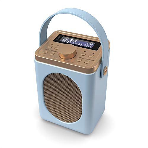 Photo of Majority Little Shelford DAB/DAB+ Digital & FM Radio, Portable Wireless, Bluetooth, with Stereo Sound, Dual Alarm Clock/Leather Effect Finish/Mains and Battery Powered (Duck Egg Blue)