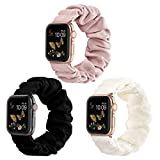 Compatible for Scrunchie Apple Watch Band 38mm 42mm 40mm 44mm Cute Print Elastic Watch Bands Women Bracelet Strap for Apple iWatch Series 6 5 4 3 2 1(3 Pack-A, 38/40mm-Small)