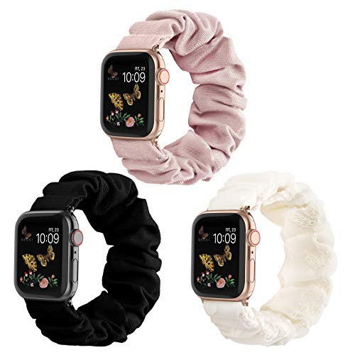 Recoppa Compatible for Scrunchie Apple Watch Band 38mm 42mm 40mm 44mm Cute Print Elastic Watch Bands Women Bracelet Strap for Apple iWatch Series 6 5 4 3 2 1(3 Pack-A, 42/44mm-Large)